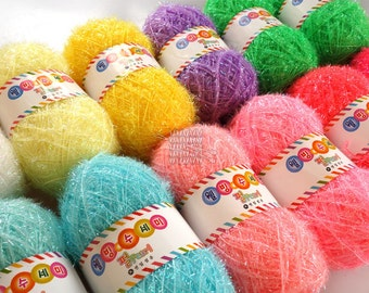 Korean Well Being Pearl Scrubber Yarn,Scrubbies Yarn, 100% Polyester, 18 Colors, 2.82oz(80g)