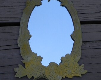 "Vintage Handcrafted Brass Wall Mirror 9"" x 5 1/2"""
