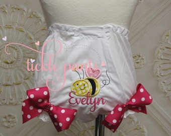 Bee bumblebee birthday bloomers - Made to match Tickle Pants bee tutu outfits