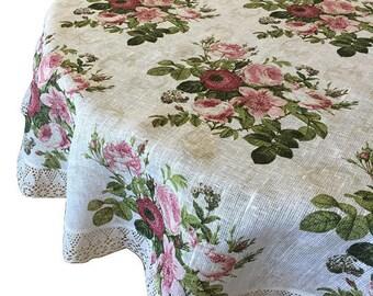 Linen Lace Round Tablecloth Pure linen  - Table Linens - Round Ø 160 cm (63'')
