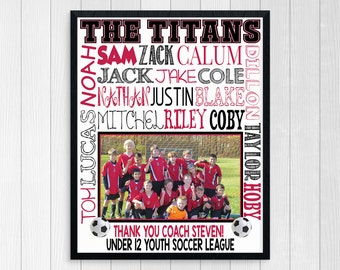 Personalized SOCCER TEAM PHOTO Gift for Coach ~ Soccer Gifts ~ Soccer Team Gift ~ Soccer Banner Football Coach Thank You~ Printable Digital