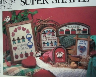 Country Style Super Shapes Cross Stitch Patterns Using Perforated Paper, Patchwork, Padded Shapes and Framed Projects MINT Condition 1986