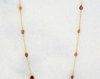 Garnet Necklace - Station Necklace - Stationed Necklace - Long Layered Necklace - Layering Necklace - Long Necklace - Chain Necklace