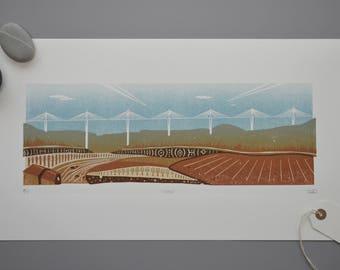 4-colour reduction linocut print, Millau Viaduct, printmaking, France, bridge print