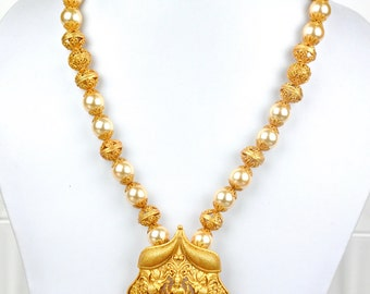 SALE 30% OFF Antique nagas necklace with lakshmi pendant and faux pearl and gold bead strand | Indian Jewelry | Indian Necklace