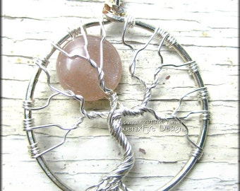Sunstone Tree of Life Pendant Full Moon Celestial Tree of Knowledge Axis Mundi Yggdrasil Wire Wrapped Silver Tree Celtic Elven Tree