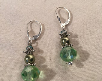 Green Crystal and Pearl Earrings
