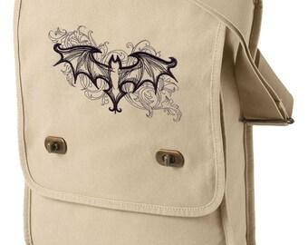Elegant Bat Embroidered Canvas Field Bag