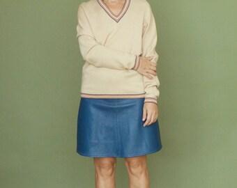 Vintage pullover Womens pullover Oatmeal beige sweater Kimono sleeve Wool sweater V-neck pullover Latte beige Camel beige