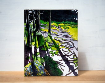 """SALE Gone Camping series - 'Tower Trail' Large Artblock,  8"""" x 10"""""""