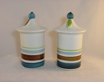 Vintage Holt Howard Salt and Pepper Shakers - Pagoda Style - Blue Brown and Green 1963