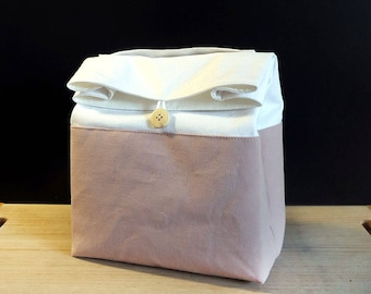 Zero waste lunch bag for women, Blush pink lunch bag with handle, Reusable and washable food bag, Sac a lunch, Cotton lunch bag