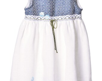 Girls Linen Dress. Girls Dress With Accessories.
