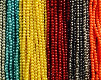 6mm Glass pearls, round, 70 beads