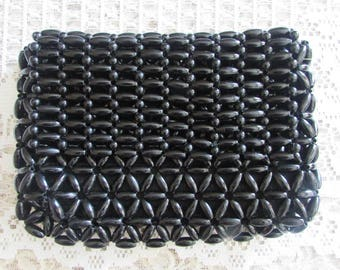 Vintage Black Beaded Clutch/Vintage Beaded Envelope Clutch/Vintage Black Clutch/Vintage 70's Bag/Vintage 70's Purse