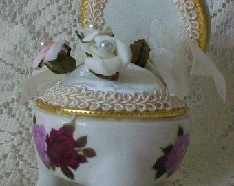 Pink Rose and White Victorian Pin Cushion Ceramic