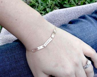 Personalized Bar Bracelet - Up to 9 Names - Your Choice of Rose Gold, 14k Gold-Filled, Sterling Silver. Custom Bracelet for Grandma, Mom.