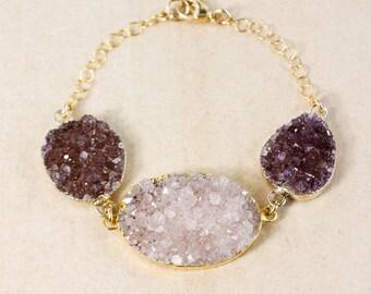 50% OFF SALE - Lilac Purple Druzy & Violet Druzy Bracelet - Gold or Silver - Oval Druzy