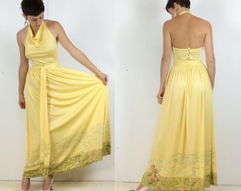 1970s Halter Neck Ballgown in Buttercup Yellow with Countryside Scene border Small