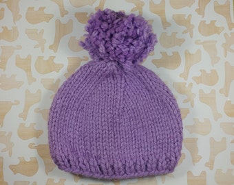 Newborn pastel purple winter hat with pom pom;  bulky newborn hat