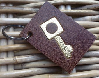 Handmade in UK Artisan brown leather key ring key fob with gold key motif