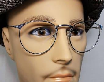 Vintage Eyeglass Frame, Lux de Paris, Silver with Navy Accents