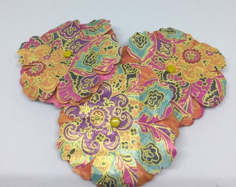 Paper Flowers - Shabby Chic - Distressed - For Packages, Cards, Scrapbooks, Journals - Bright, Luscious - Patterned