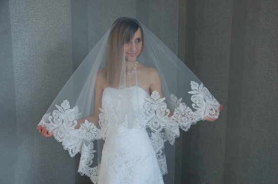 Royal Cathedral Veil Drop Veil Blusher Lace Drop Veil Veil