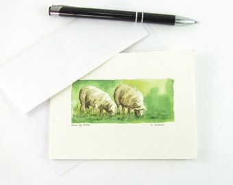 Sheep Painting Original Watercolor Art Card For Sale