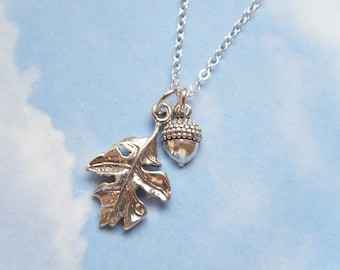 Acorn & oak leaf necklace - sterling silver charms on delicate sterling chain - for growth and achievement - free shipping USA