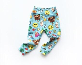 Emoji Leggings / Emoji Clothes / Unisex Leggings / Girls Boys Leggings / Kids Clothes / Baby Toddler Pants / Kids Leggings / 0-6