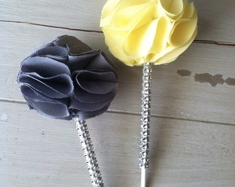 Bling Sparkle Fabric Cupcake Toppers-with Upgraded Bling stems in ANY color