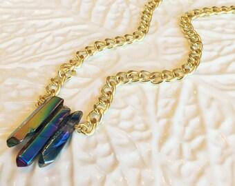 Rainbow Aura Quartz Spike Necklace on Large Curb Chain