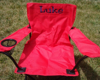 red monogrammed chair for kids