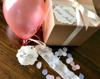 Rose Gold-Will you be my bridesmaid? Pop the balloon to reveal your message