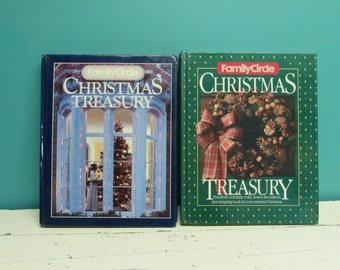 Family Circle Christmas Treasury  ~ 1986 and 1988 Cookbooks and Craft Decorations  ~  Set of 2 ~ Holiday Recipes