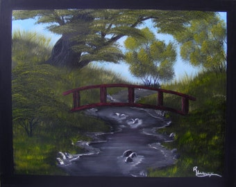 Landscape Oil Painting on Canvas - traditional nature painting, bridge tree stream painting - A Bridge Over Running Water by Robin Harvey