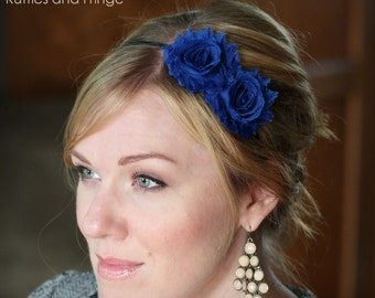 Royal Blue Adult Headband, Shabby Chic Flower for Women