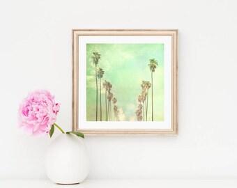 framed art Los Angeles print, palm trees, large wall art, mint green, California decor, LA photography, framed LA photograph, Myan Soffia