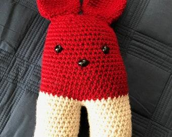 Cream and Crimson Two-legged Bunny Rabbit  Stuffed Amigurumi Toy