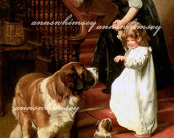 "Little Girl, Baby and Mom St. Bernards, ""Bedtime"" RESTORED Antique (1896) Art Print, For lover of Children and Dogs #282"