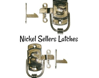 Nickel Latch - Nickel Plated Brass Sellers Style Cabinet Latch - Sellers Cabinet