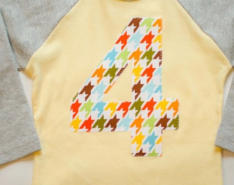 Kids 4th Birthday Shirt, Boy or Girl, Yellow and Gray, I am 4, Houndstooth Applique Raglan Tshirt, Size 4 4T, Ready to Ship, Preppy Party