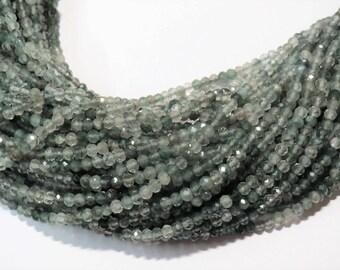 "2mm GREEN Rutilated Quartz Micro Faceted Rondelle Stone Beads Semi precious Gemstone Bead Full Strand 13"" wholesale lot Jewelry Supplies"