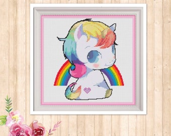 Unicorn Baby Counted Cross Stitch Chart