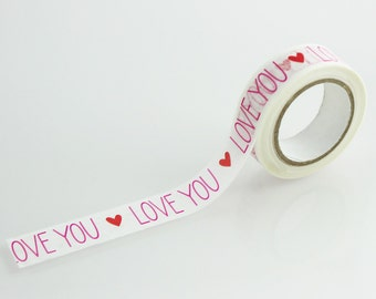 Love You Printed Pattern Washi Tape // Paper Tape //CR-W-P006