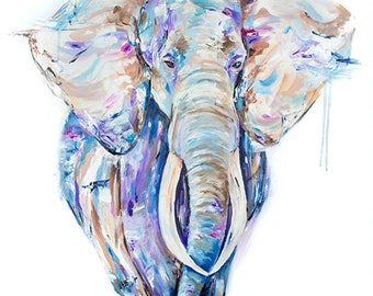 """Large Elephant Painting 40""""x30 original painting on canvas, wildlife painting, thick oil paint, colorful painting,  By Alexa Rose"""