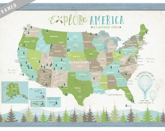Framed Map for Kids, Push Pin National Parks map for kids, 20X30 Inches, Great Outdoors, Nursery Map, Home School Map, Educational