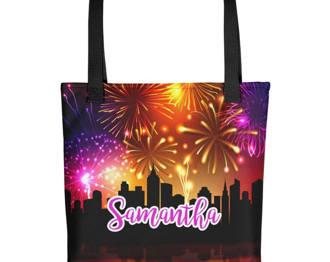 Custom Name Tote bag | Personalized Name Tote Bag | All Over Print Tote | Personalized Colorful Fireworks Tote Bag | Custom Tote Bag