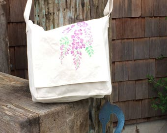 Wisteria blooms handpainted on light cotton canvas messenger bag. lavender color blossoms for spring and summer purse, adjustable strap.